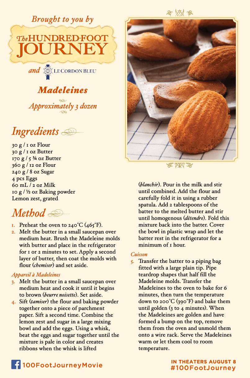 DreamWorks Pictures' THE HUNDRED-FOOT JOURNEY – Madeleines Recipe Now Available