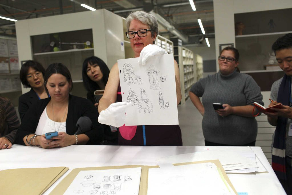 Press visit the Pixar Living Archives, located off campus, and view Toy Story development materials including sculpts and concept art with Archivist Christine Freeman on October 01, 2015 at Pixar Animation Studios in Emeryville, Calif. (Photo by Deborah Coleman / Pixar)