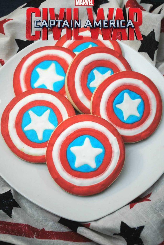 Captain America shield cookie