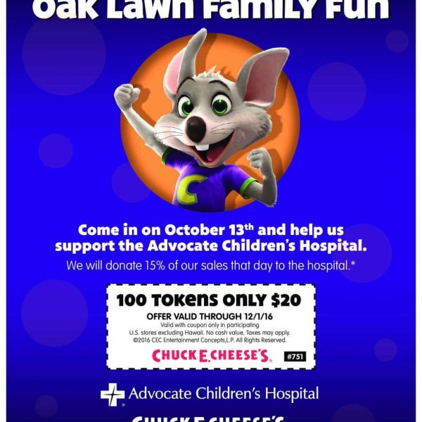 Join Me On Oct. 13 For A Chuck E Cheese Fundraiser Here in Oak Lawn!