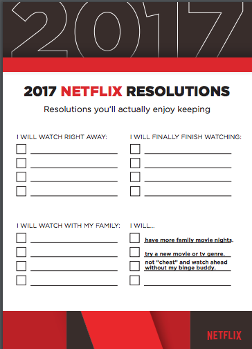 2017 Netflix Resolutions