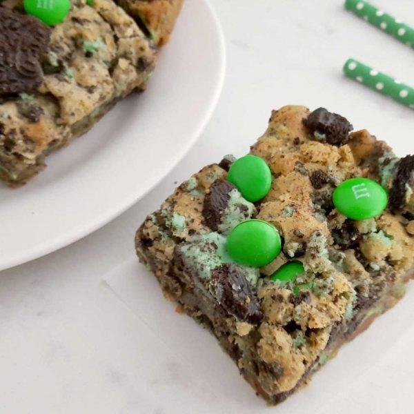 Mint Oreo M&M Cookie Bars
