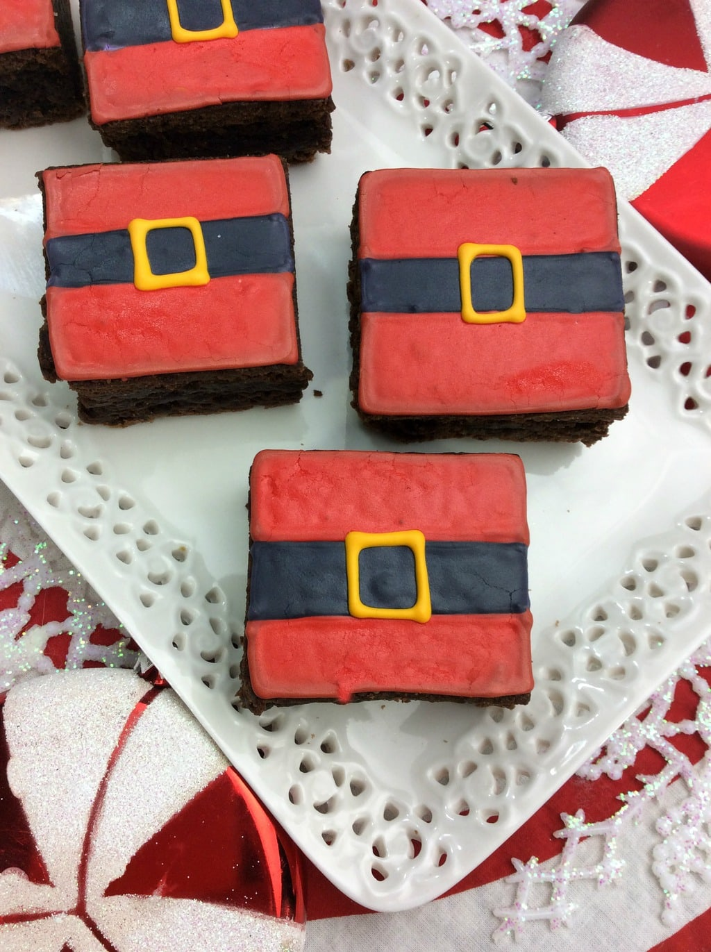 Christmas Recipe:  Santa Belt Brownies