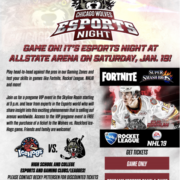 Come Join Me & The Chicago Wolves on Esports Night!